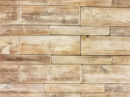 close up of layered wooden brick pattern Stock Photo