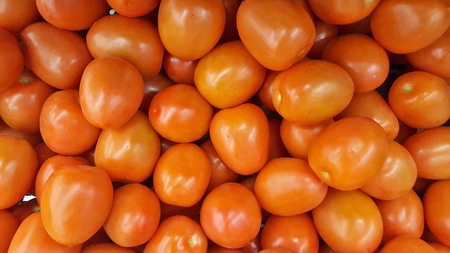 close up of ripe grape tomatoes at the farmers market Stock Photo