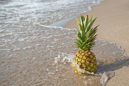 Pineapple on sandy beach with splashing water