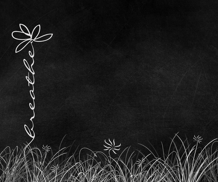 Motivational breathe text daisy in grass on black chalkboard