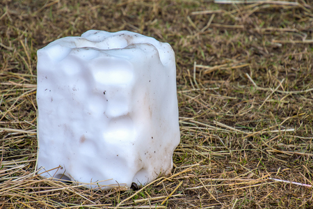 white animal salt lick block on straw