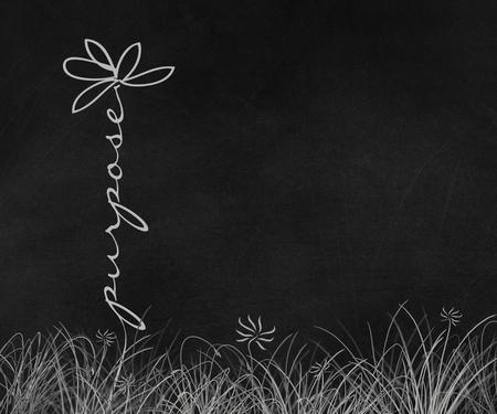 word purpose text daisy stem in grass on black chalkboard