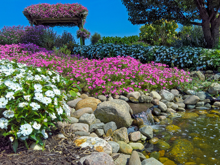 Waterfall in colourful summer rock garden with bright blue sky