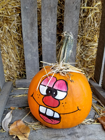orange autumn pumpkin in wooden crate with painted fun face