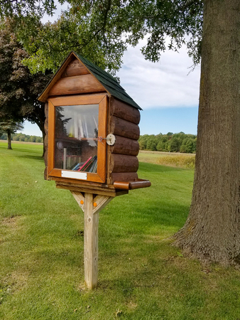 log cabin birdhouse library on wooden post in rural field