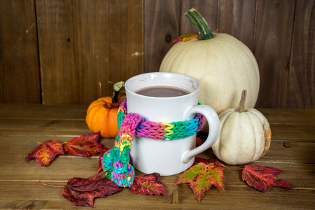 colorful knit scarf wrapped around white mug with hot chocolate in autumn leaves and pumpkin decorations