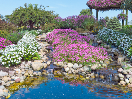 water pool in ornamental rock garden with waterfalls and pink petunias and white impatiens