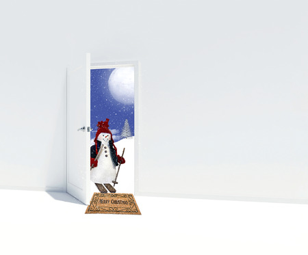 snowman on skis in open doorway with Merry Christmas greeting on brown doormat and snowflakes Imagens