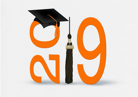 black graduation cap and tassel with bold orange 2019 numbers on soft white textured background