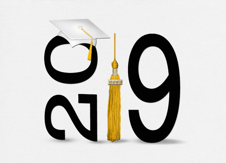 white 2019 graduation cap on black text with gold tassel isolated on soft textured white background