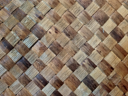 close up of brown wooden basket weave pattern
