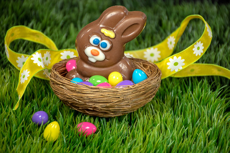chocolate Easter rabbit in bird nest with colorful eggs on green grass and yellow ribbon
