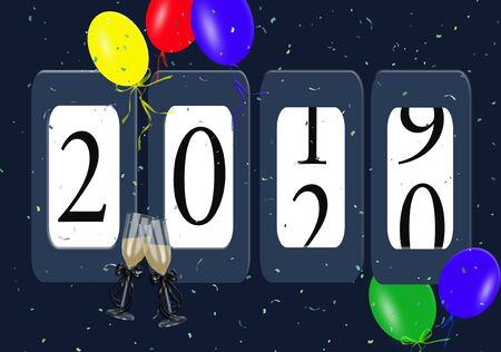 New Year 2020 odometer with party balloons and confetti