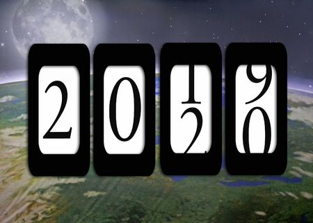New Year 2020 odometer sign on planet earth with full moon