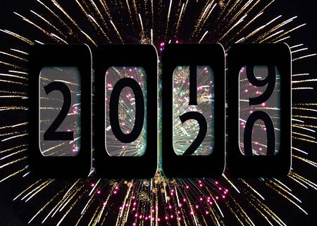 New Year 2020 odometer sign on fireworks background Stockfoto
