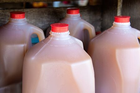 apple cider in plastic gallon jugs at the farmers market