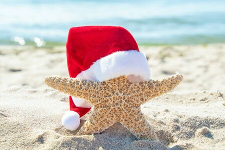 red and white Santa hat on tropical starfish in beach sand with ocean background