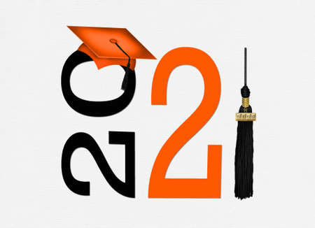orange graduation cap with black tassel for the class of 2021 isolated on white background