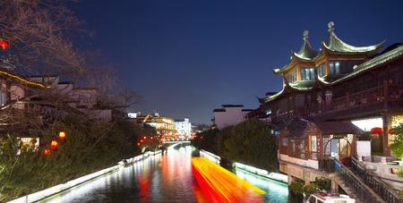 gaily: Nanjing Confucius Temple & Qinhuai river Stock Photo