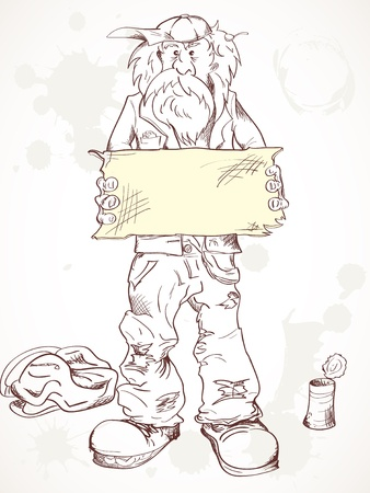 Homeless a beggar holds empty tablet.