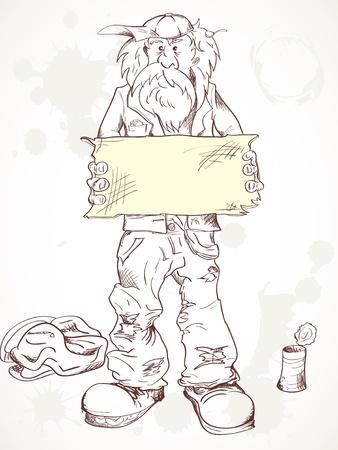 tramp: Homeless a beggar holds empty tablet.