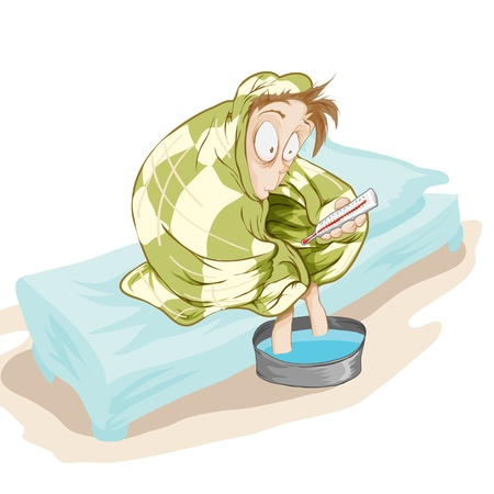 A fellow sits on a bed with a very high temperature. Vectorial illustration.