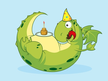 Birthday of a dragon.Vector illustration. Vector