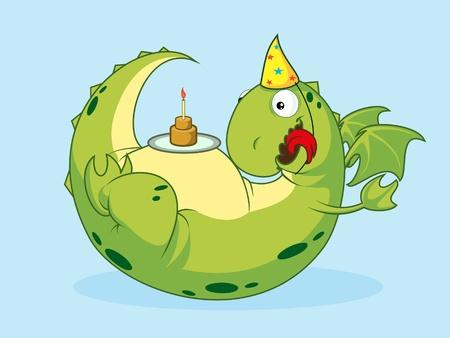 Birthday of a dragon.Vector illustration. Stock Vector - 10057133