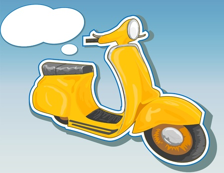 moped: Beautiful yellow scooter. Designed as a sticker or a campaign. Vector illustration. Illustration
