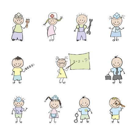 10 professionals who choose children. Vector illustration.