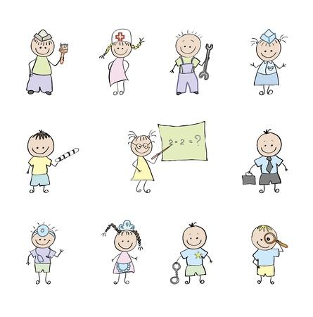 10 professionals who choose children. Vector illustration.