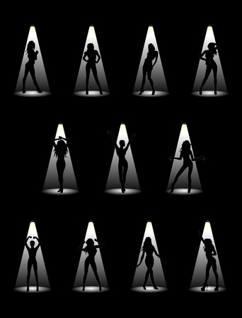 images of beautiful models in the light of the floodlights Stock Vector - 10057167