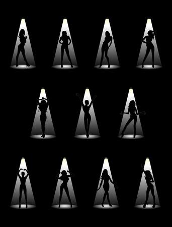 Imágenes de hermosas modelos a la luz de los proyectores. Ilustración vectorial.