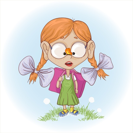 schoolgirl: a ginger girl on the way in school saw a butterfly.  Illustration
