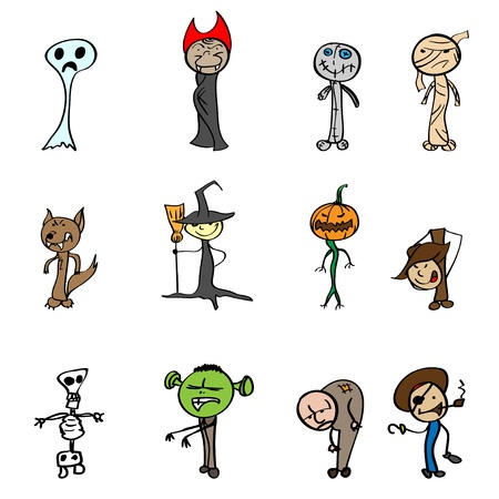 Childrens drawings for Halloween. Vector illustration.