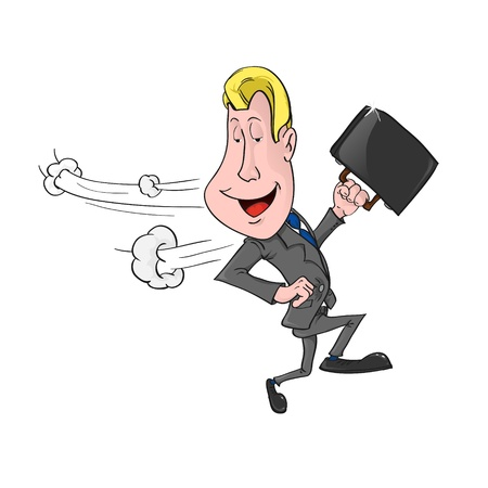 competitive business: businessman runs and looks around. illustration. Illustration