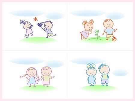 mischief: cheerful and happy kids. illustration.