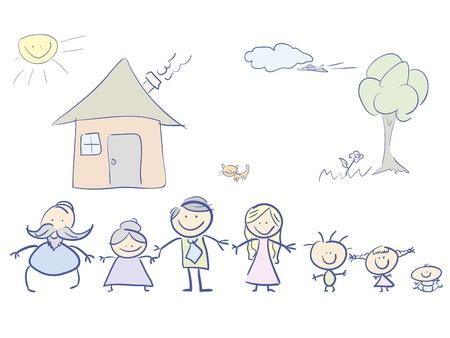 abuela: familia feliz en color. ilustración.