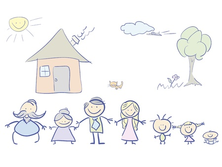 happy family in color. illustration.