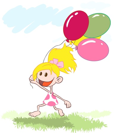 small girl: the little girl ran across the field with balloons. illustration. Illustration