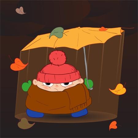 sad child standing in the rain. autumn illustration of sorrow. Vector