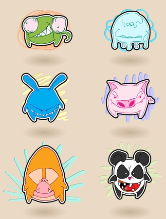 angry, colorful, funny animals anime. illustration. Illustration