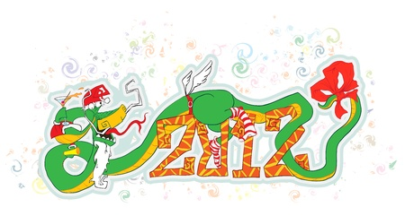 symbol 2012, dragon, celebrates the new year. funny vector illustration. (all layers are made for easy editing of illustration.) Vector