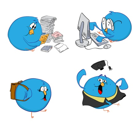 birdsong: four blue birds do their studies. all birds are implemented as separate images. can be used as promotion of social networks or logo tweeter. illustration isolated.