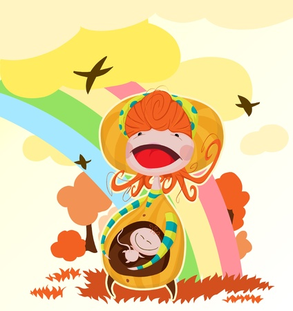 a young pregnant mother nature rejoices at the sun. vector illustration contains two layers for easy editing images. Vector