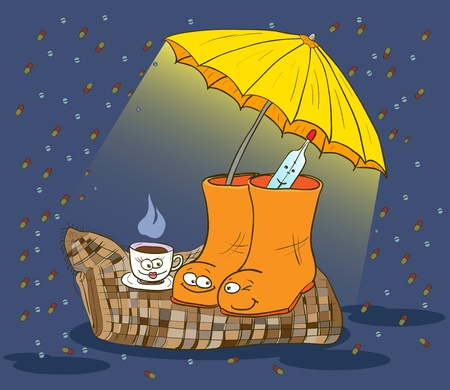 traditional medicine, boots, a thermometer, a blanket, tea parasol. vector illustration. Illustration