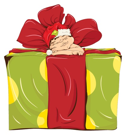 the little elf was asleep on a big gift box. vector illustration. Vector