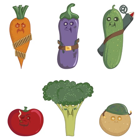 militant: Carrots, eggplant, cucumber, tomato, broccoli, potatoes isolated on a white background. Militant vegetables