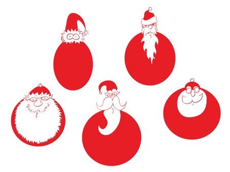 clauses: Five Santa Clauses like Christmas balls.
