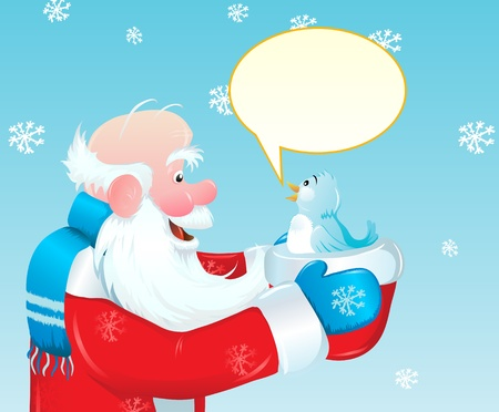 Santa Claus holding a hat and a blue bird, talking to her. Vector